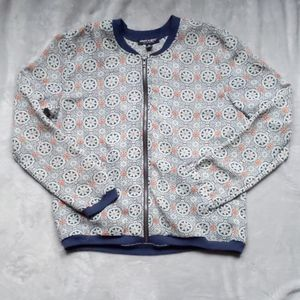 About a girl floral pattern sheer full zip bomber